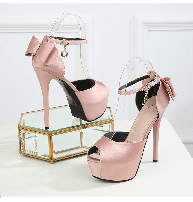 Summer Solid Sexy Pumps Women Sandals Shoes Wedding 3.8cm-4.5cm Platform Silk Buckle Strap Super High Heels Party Female Shoes 11