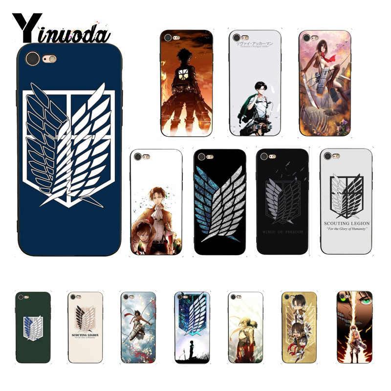 Coque souple pour iphone, compatible modèles 6, 6S, 7, 7plus, 8, 8Plus, 5, 5s, XR, X, 12, XS MAX, dessin animé japonais, attaque sur Titan Black