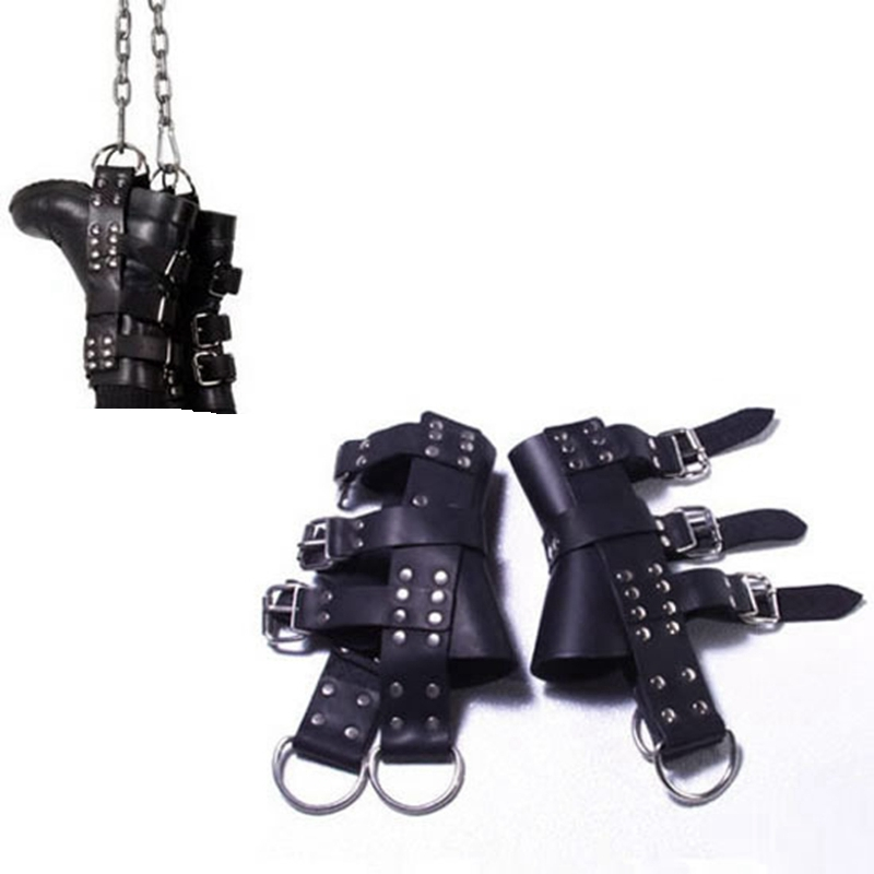 Leather Suspension Special BDSM Bondage Ankle Cuffs Slave Restraint Tools Adjustable Size Sex Toys For Couple Adult Games smpade latest special design over the door restraint jam cuffs body bondage kinky couple sexy fun play adult cosplay