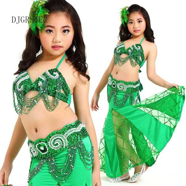560085665ab729 Online Shop DJGRSTER Belly Dance Children Indian Costume Set 3-pieces (Top+Belt+dress)  Bollywood Dance Costumes for Girls Kids bellydance