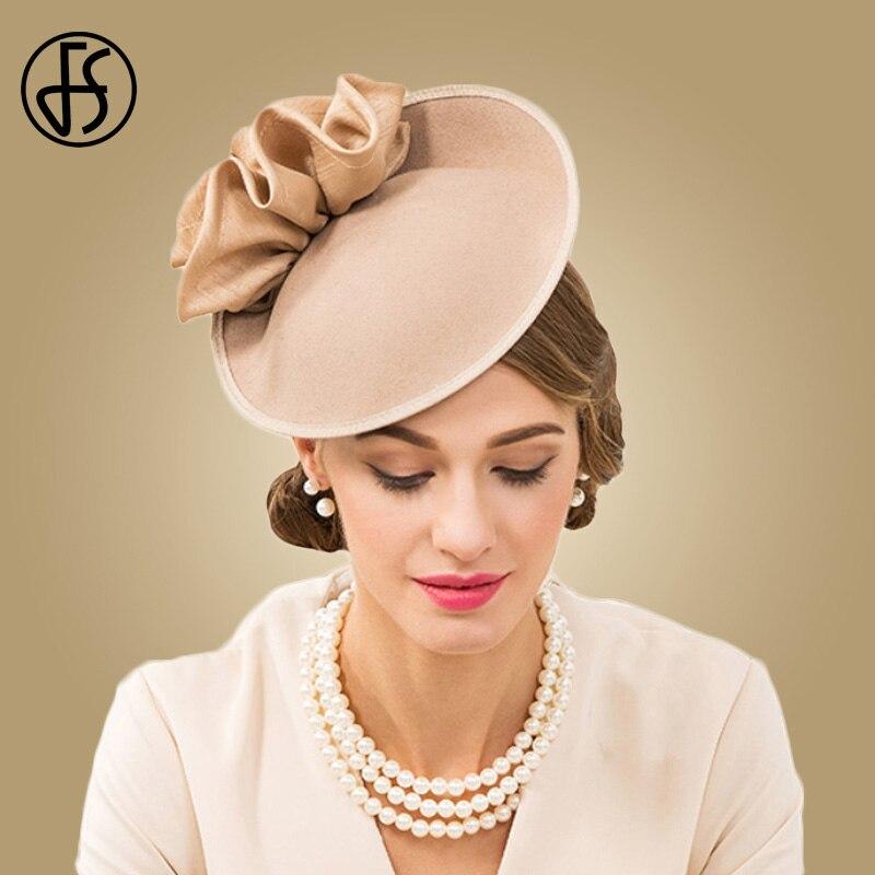 FS Britânico Cáqui Chapéu de Feltro Fedora Chapéus Para As Mulheres 100% Lã  Casamata Fascinator c9cddeac851
