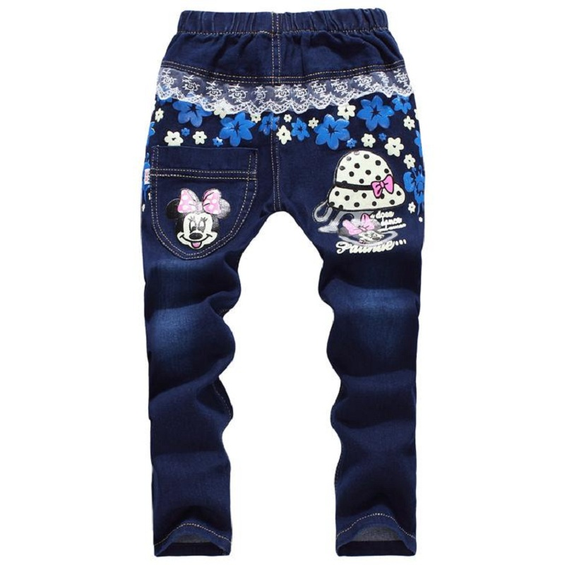 Hot Kids Girls Jeans Lace Cartoon 7-12 Years Children Girls Denim Pants High Quality Spring Trousers Fall Girls Pants Clothing