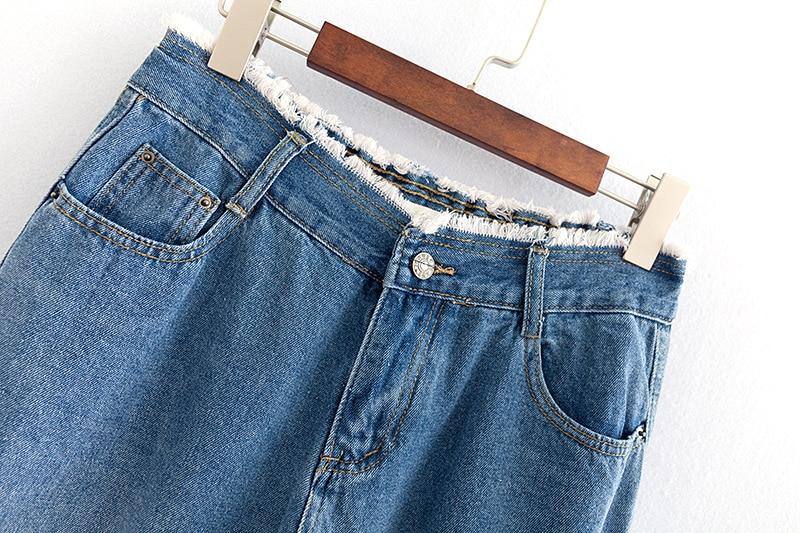 F42 Autumn Winter Plus Size Women Clothing Ankle-length Jeans 4XL Casual Fashion Loose Denim wide leg Pants 8048 3