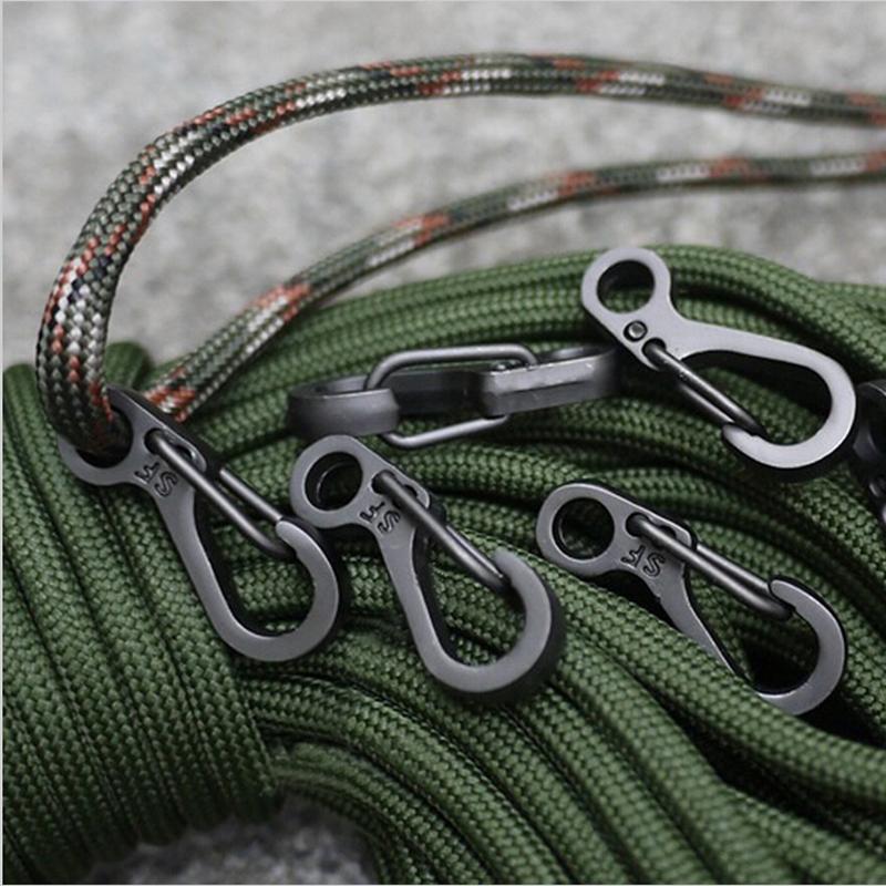 10PCS/LOT Mini SF Carabiners Climbing Backpack Spring Clasps EDC Keychain Camping Bottle Hooks Paracord Tactical Survival Gear