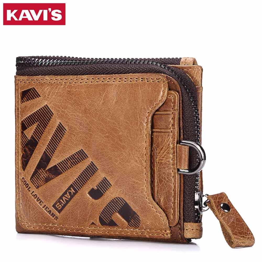 KAVIS Genuine Leather Wallet Men Coin Purse Male Cuzdan Walet Portomonee PORTFOLIO Perse Small Pocket money bag Card Holder kavis genuine leather wallet men coin purse with card holder male pocket money bag portomonee small walet portfolio for perse