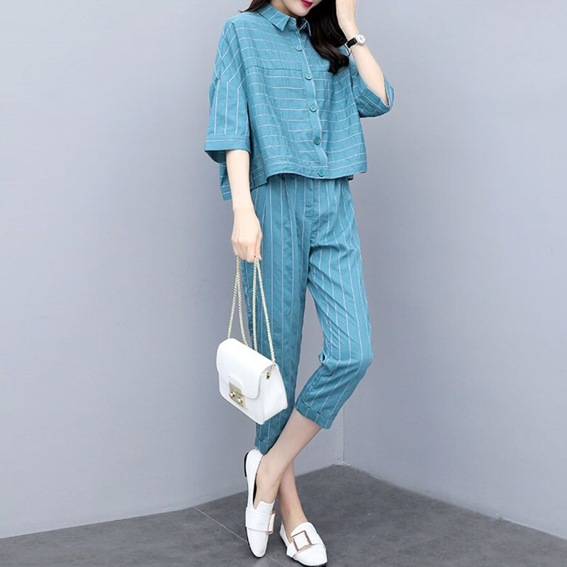 2019 Summer Blue Striped Two Piece Sets Outfits Women Plus Size 3/4 Sleeve Shirts And Cropped Pants Suits Casual Elegant Sets 26