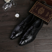 QYFCIOUFU 2019 High Quality Genuine Leather Business Casual Men Dress Shoes Office Luxury Crocodile Pattern Oxfords Formal Shoes