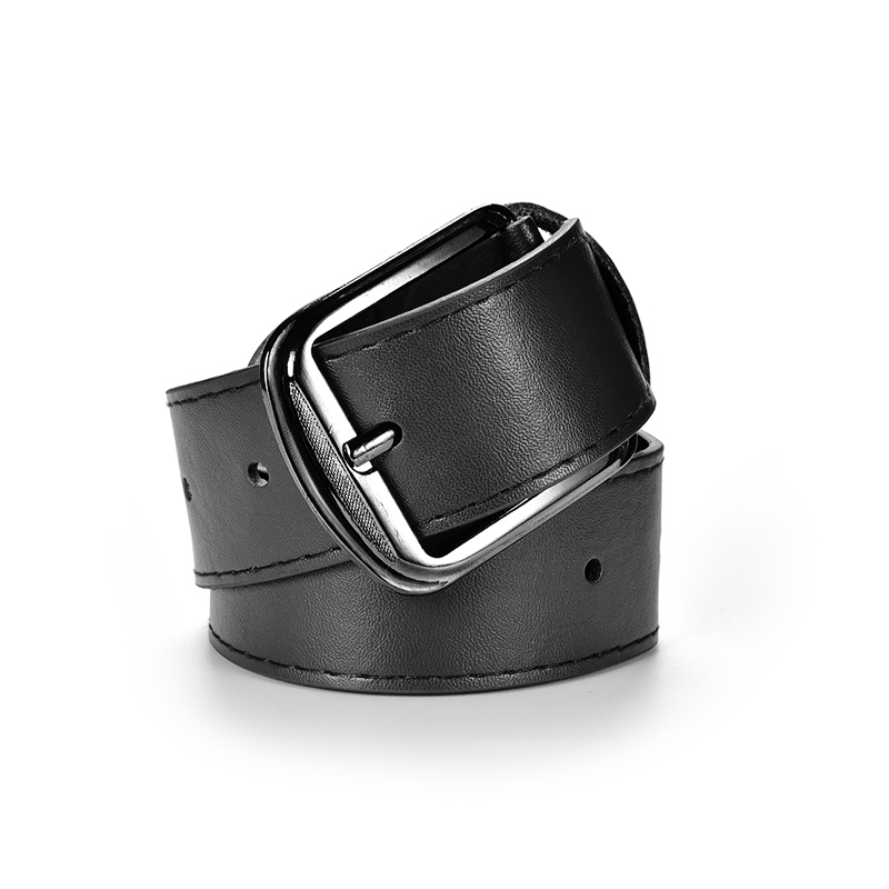 Men's Belt Black Leather Metal Buckle Casual Belts For Men Pu Leather Men's Waist Belt