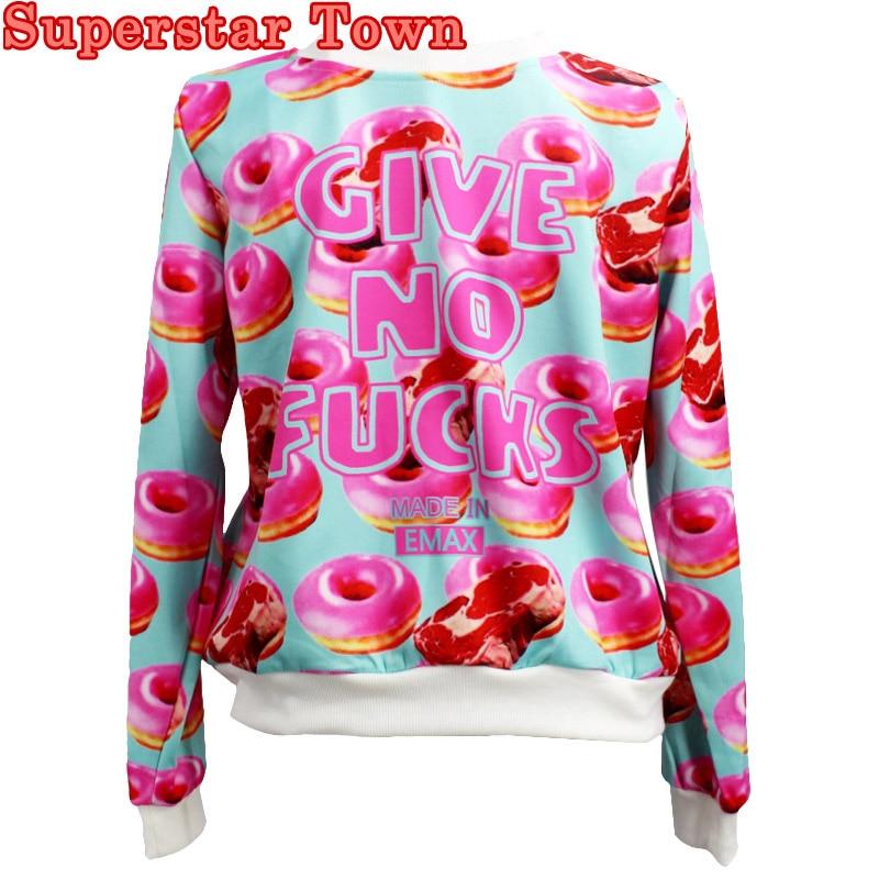 Kpop Donuts Hoodie Harajuku Women's Funny Hoodies Moletom Casual Sweatshirt Long Sleeve Tops Tee Moletom Feminina