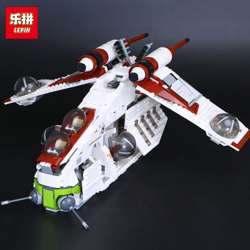 цены на Lepin 05041 Genuine Star Series War The Republic set Gunship Set Educational Building Blocks Bricks Toys With 75021 Model Gifts