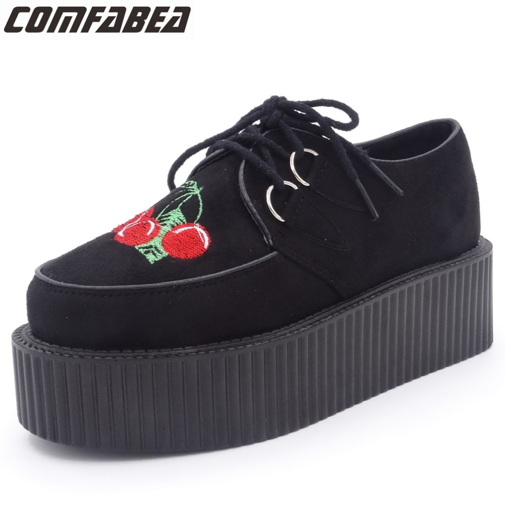 Harajuku Platform Shoes Woman Classic Cherry Embroidered Creepers Flats Platform Shoes Women's Casual Shoes Punk Rock black lanshulan bling glitters slippers 2017 summer flip flops platform shoes woman creepers slip on flats casual wedges gold