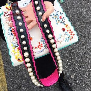 Image 2 - Nieuwe Ontwerp Luxe Parel Stijl Stiksels Kleuren Pu Leer Vrouwen Schoudertassen Tote Strap Bag Onderdelen & Accessoires 4 kleuren