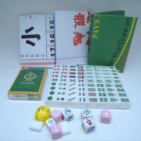 6 In 1 Mini Acrylic Mahjong Traveling Game Portable Mahjong Cards Dices Set Color Random Ivory