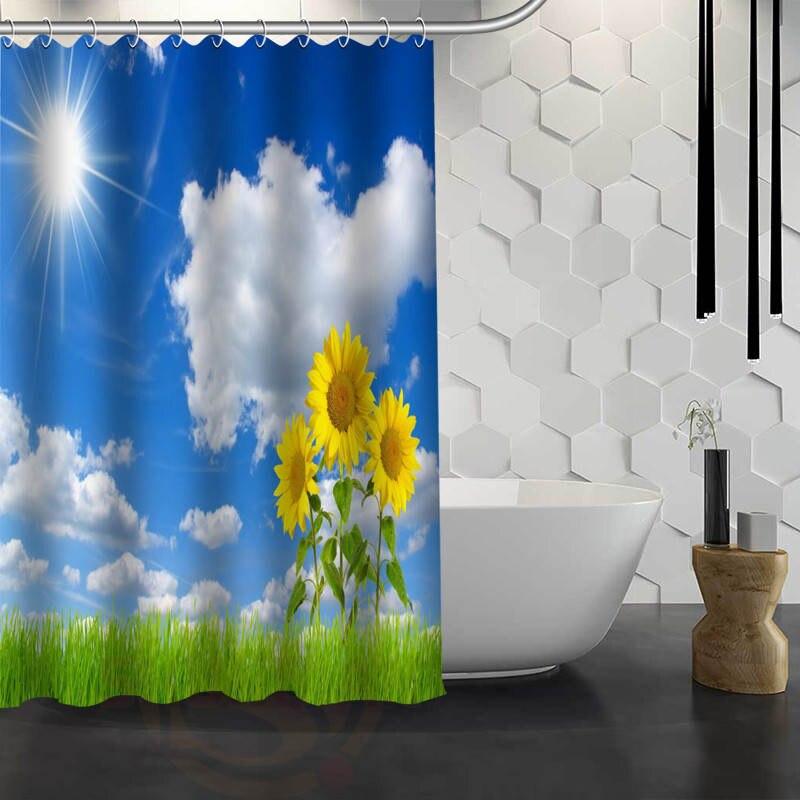 hot sale custom blue sky clouds custom shower curtain waterproof fabric bath curtain for bathroom f