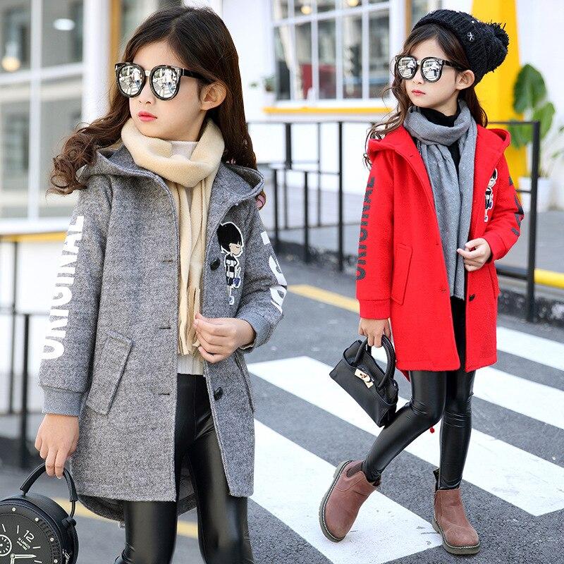 ФОТО 2016 new girls autumn coat  korean children woolen coat teenage girl long wool coat.print hooded full kids clothing red 5-9-13Y