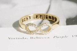 Oly2u anéis de cristal do infinito, melhores amigos, simples, adorável, bonito para mulheres, anéis de meninas da moda