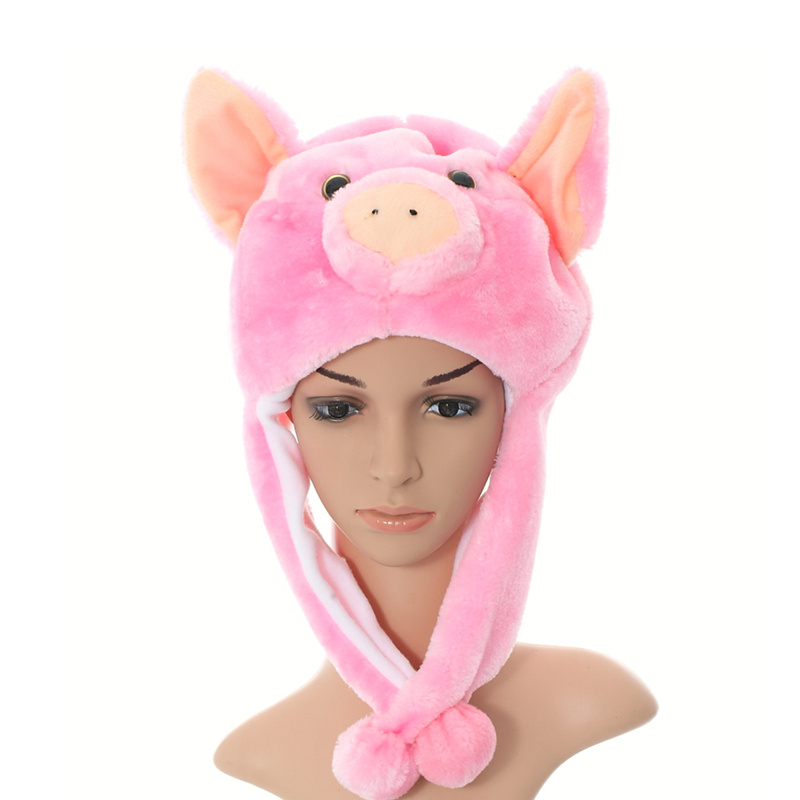 DOUBCHOW Unisex Adults Teenages Kids Boys Girls Cartoon Earflap Animal Hat Cute Stand Ear Pink Piggy Plush Winter Warm Cap 2016