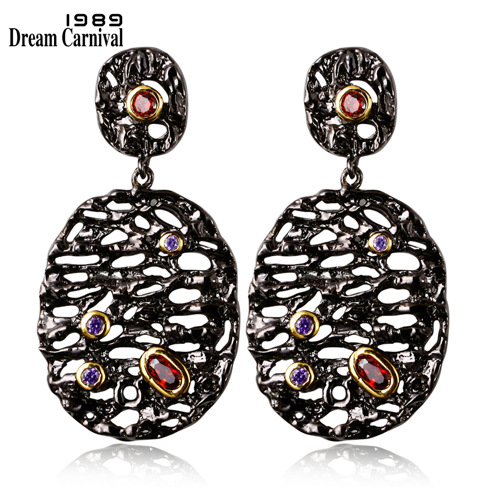 DreamCarnival 1989 Fashion Hollow Pattern Wild Party Earings Black Gold Color CZ Red Purple Stones Big Drop Earrings ZE52797