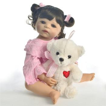 Reborn toddler bebe menina doll 55cm full silicone reborn baby dolls toys vinyl newborn princess boneca sexual realista gift