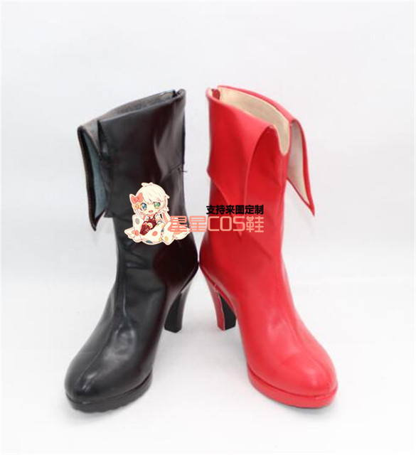 d9f8ea4f0fe3 Batman Harley Quinn Girls Red   Black Cosplay Shoes Boots X002-in ...
