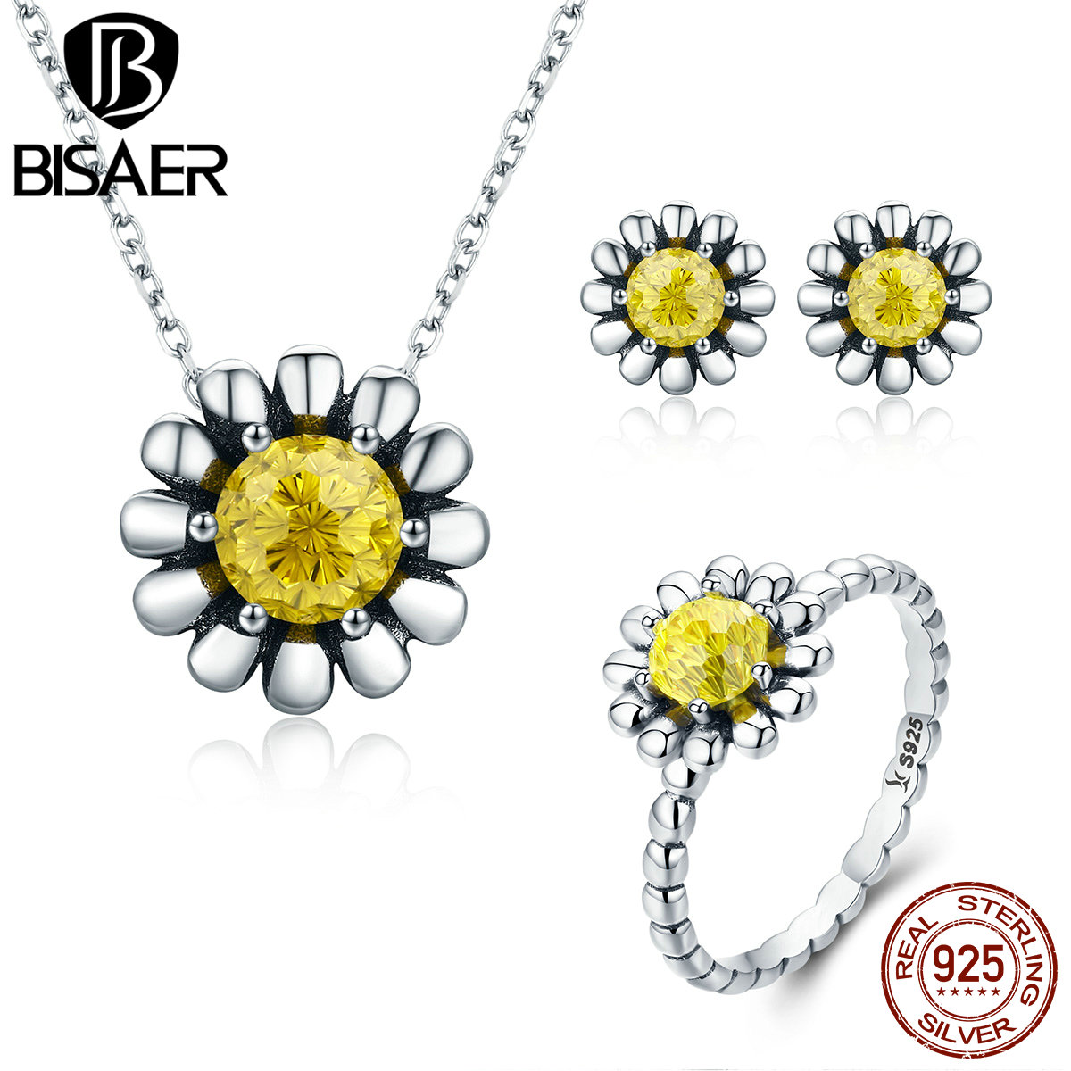 BISAER 100% 925 Sterling Silver Jewelry Sets Daisy Flower Yellow CZ Necklace Ring Jewelry Set Authentic Silver Jewelry GUS048BISAER 100% 925 Sterling Silver Jewelry Sets Daisy Flower Yellow CZ Necklace Ring Jewelry Set Authentic Silver Jewelry GUS048