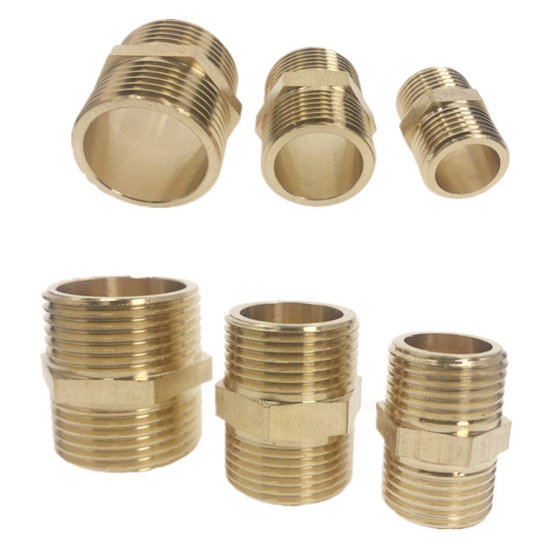 "Brass Pipe Hex Nipple Fitting Quick Adapter 1/8"" 1/4"" 3/8"" 1/2"" 3/4"" 1"" BSP Male Thread Water, Oil And Gas Connector"