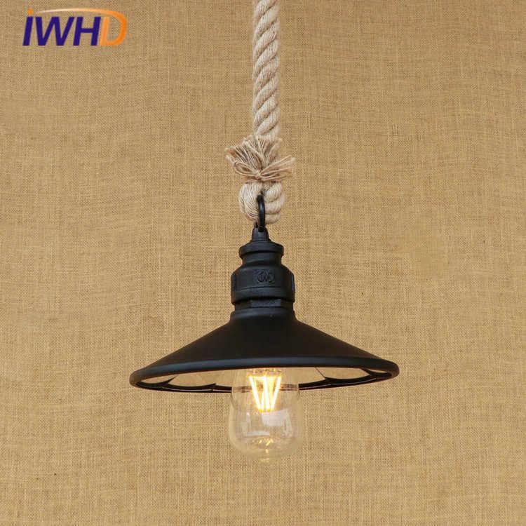 Пеньковая веревка RH Лофт светодиодный подвесной светильник винтажный промышленный подвесной светильник осветительная Подвесная лампа для дома Lamparas Colgantes