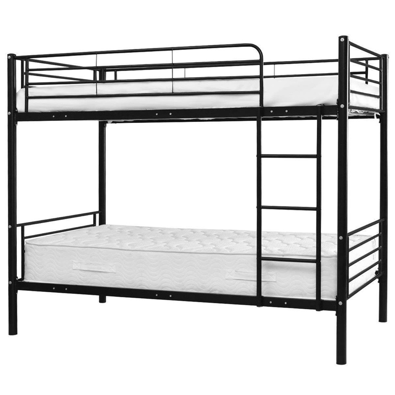 High Quality Stainless Steel Twin Over Twin Bunk Beds Ladder Space Saving Safety Full-length Guardrails Modern Furniture HW56238