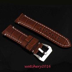 24mm brązowy skórzany prawdziwej skóry fit wojskowy parnis zegarek męski
