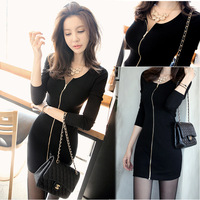 Asian Size New Arrival Women Sexy Dress O-Neck Slim Korean Casual Dress Vestidos Before Zippers Black Mini Dresses Plus Size