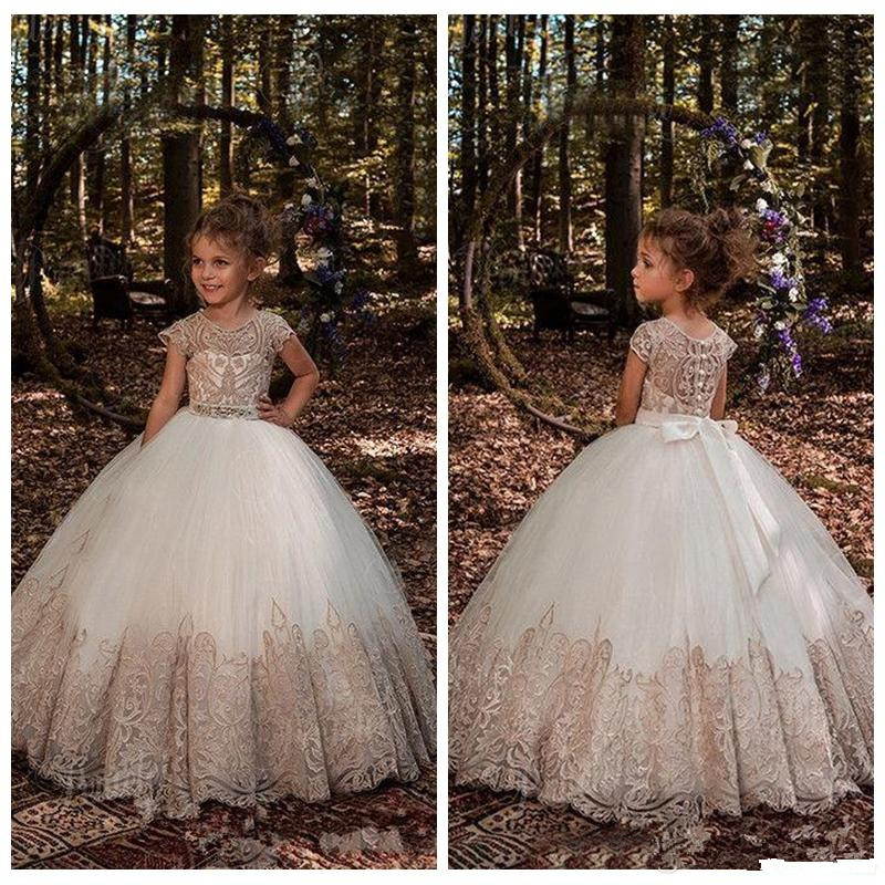 New Luxury   Flower     Girls     Dresses   for Weddings Appliques Real Photos First Communion   Dress     Girls   Pageant