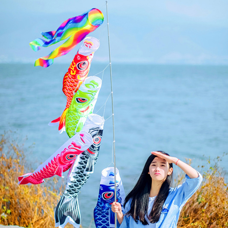 "Koinobori Japanese Carp Wind Sock Koi Nobori Fish Flag Windsock 28/"" Black"