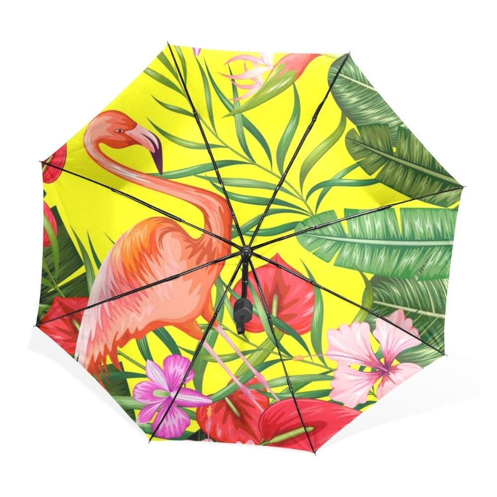 Women Sunny Rain Umbrella Tropical Style Colorful Flamingo Leaves ...