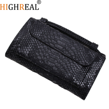 HIGHREAL Brand Genuine Leather Women Messenger Bag Crocodile Pattern Shoulder Bag Women Crossbody Bag Daily Clutch