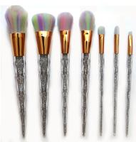 Colorful Cosmetic Makeup Brush Set 7Pcs High Quality Clear Diamond Makeup Foundation Powder Blush Eyeliner Brushes