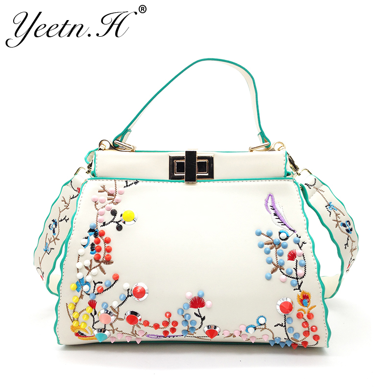 Yeetn.H New Arrival Woman Handbags Vintage Rivet Bag For Tote Bag PU Leather Women Embroidery Messenger Bags Free Shipping M642 free shipping vintage hmong tribal ethnic thai indian boho shoulder bag message bag pu leather handmade embroidery tapestry 1018