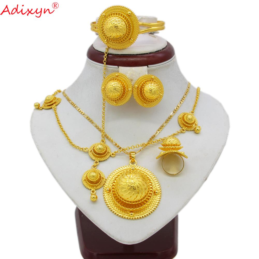 Adixyn золотой цвет комплект эфиопских украшений кулон/ожерелье/браслет/серьги/Кольцо/цепочка для волос в Африканском эритрейском стиле свадебные наборы N06154