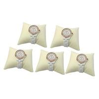 Wholesale 5pcs Medium 9 X 8 X 5cm Beige Leather Pillow Bracelet Watch Anklet  Bangle Chain Holder