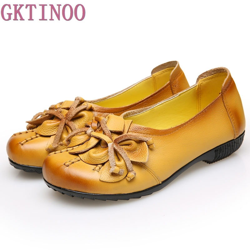 Vintage Loafers Women's Flat Shoes Woman Flower Handmade Comfortable Shoes Genuine Leather Soft Outsole Shoes Women Flats women flats new fashion women genuine leather flat shoes woman bow casual shoes comfortable soft outsole loafers women shoes
