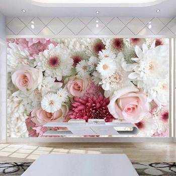 Custom 3D Wall Mural Classic Rose Peony Flowers Photo Wallpaper Living Room Wedding House Background Wall Decor Papel De Parede