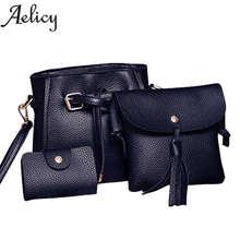 Aelicy New Women Four Set Fashion Handbag Shoulder Bag Four Pieces Tote Bag Crossbody Wallet Luxury Handbags Women Bags Designer