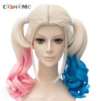 Coshome Suicide Squad Harley Quinn Wigs Cosplay Peluca Styled Curly Synthetic Ponytail Wig Heat Resistant Hair