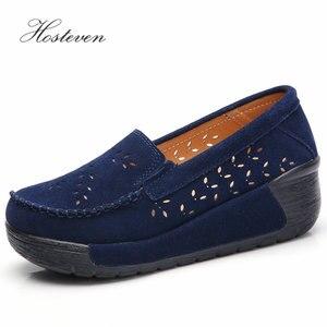 Image 4 - Hosteven Women Shoes Moccasins Loafers Sneakers Flat Platform Genuine Leather Summer Autumn Ladies Female Swing Hole Shoe