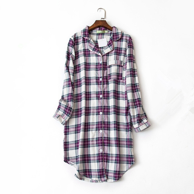 2018 New arrical women brief simple nightgowns purple color plaid shirt collar spring sleep dress softy cotton for ladies