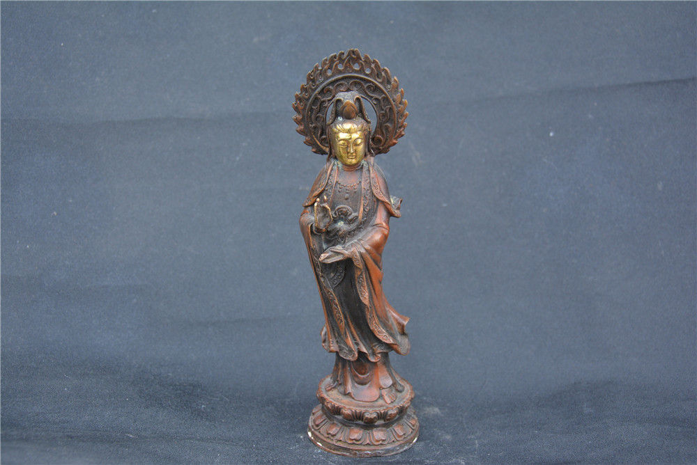 Collection old gilt copper GUANYIN Buddha statue /sculpture,Hand carving crafts,best adornment & collection, free shippingCollection old gilt copper GUANYIN Buddha statue /sculpture,Hand carving crafts,best adornment & collection, free shipping