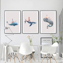 Cartoon Animal Print Dolphin Wall Art Canvas Painting Modern Minimalist Nordic Poster Nursery Picture Kid Baby Room Home Decor