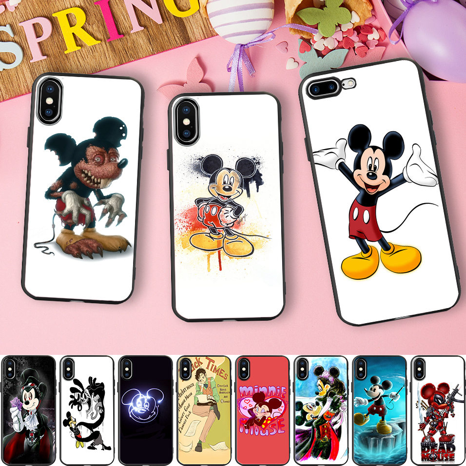 Minason Evil Minnie Mickey Mouse Black TPU Soft Silicone Cell Phone Case for iPhone X 5 S 5S SE 6 6S 7 8 Plus 8plus Cover