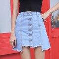 Лето новых диких шить талии джинсовая юбка твердого флэш-джинсовая юбка