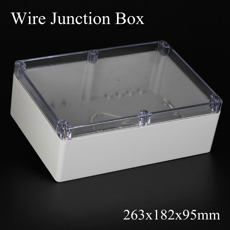 IP65 263x182x95mm Clear Cover ABS Transparent Plastic Electronic Project Waterpoof Wire Junction Box Sealed Enclosure Case цены
