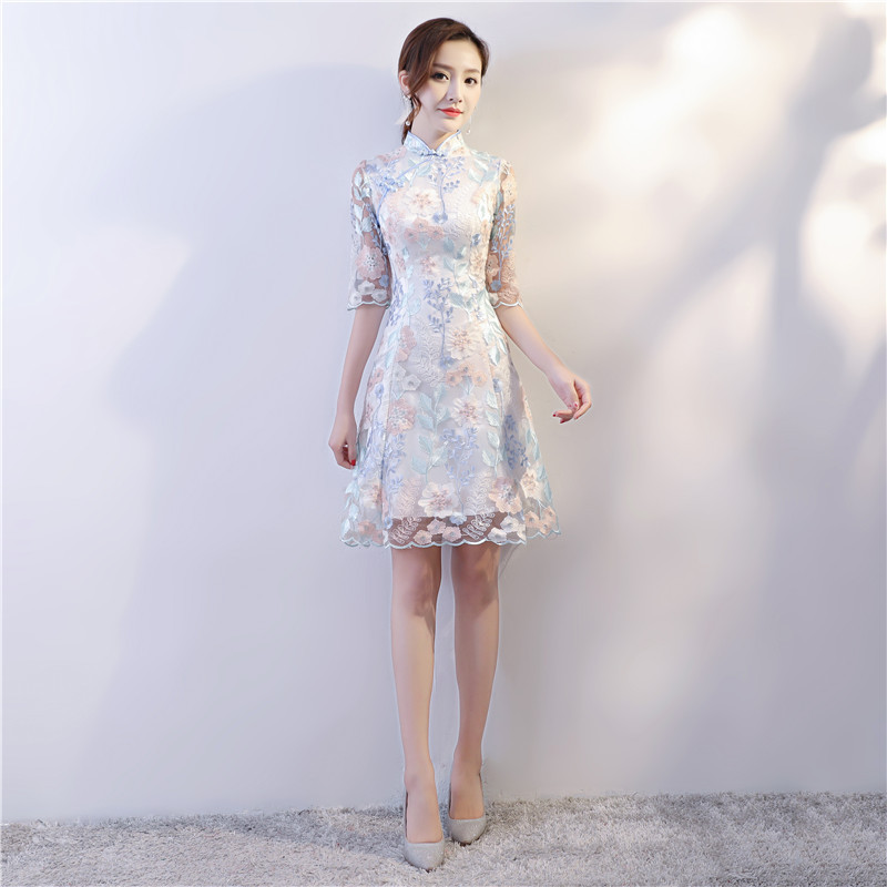 Chinese Style Wedding Mini Cheongsam Retro Sexy Slim Party Evening Dress Gown Qipao Vintage Womens Embroidery